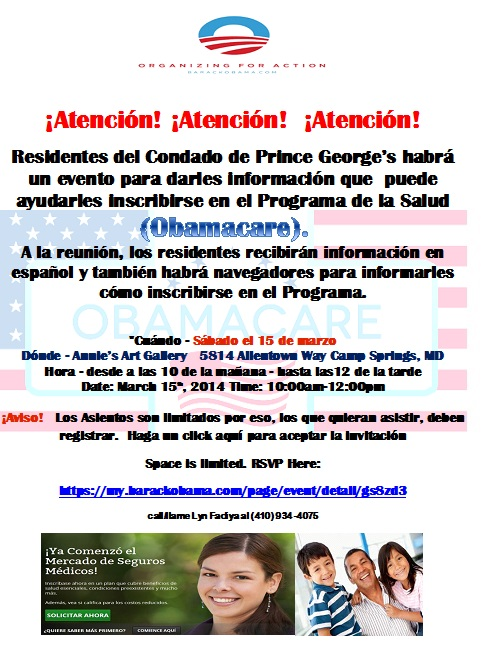 Spanish Obamacare training flyer