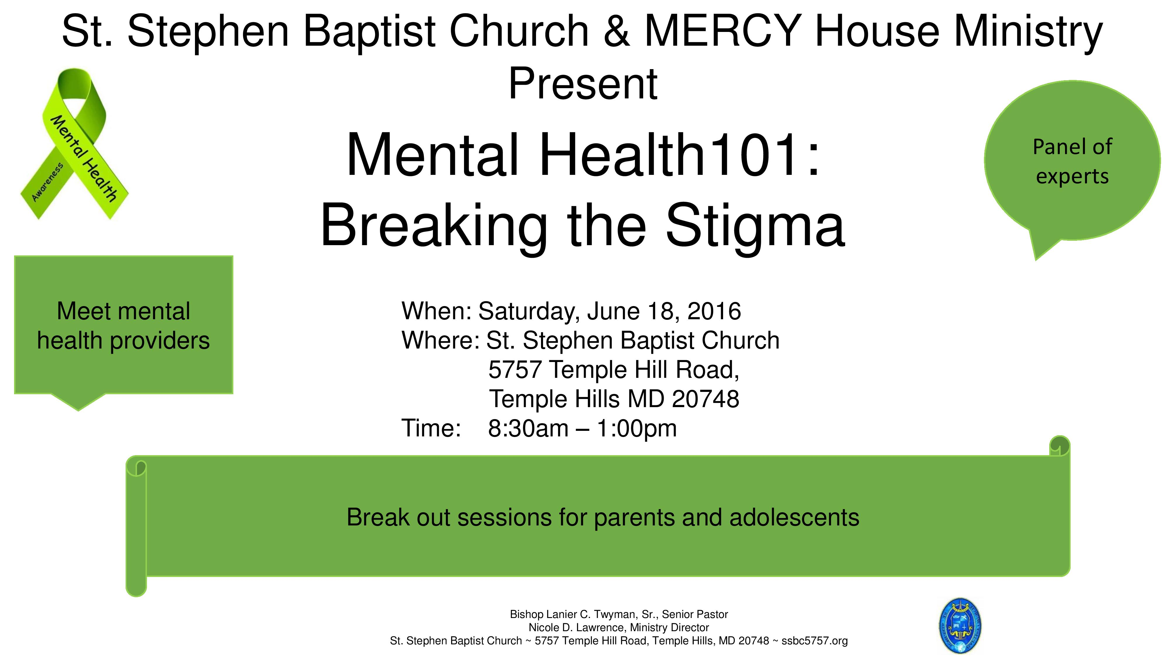 Mental Health 101 Breaking The Stigma Camp Springs Civic Association